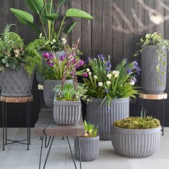 Fiber Concrete Barrel Pot by Terrain